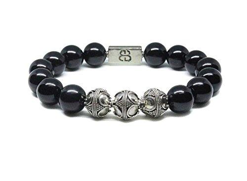 Black Obsidian and Sterling Silver Beads Bracelet, Bali Beads Bracelet, Men