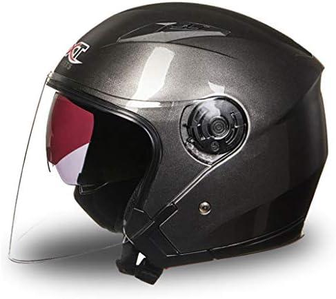 NJ ヘルメット- オートバイのヘルメットの男性と女性レトロ四季の二重レンズのヘルメットをカバー (色 : Dark gray, サイズ さいず : Xl xl)