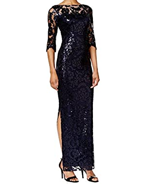 Womens Sequined Full-Length Evening Dress