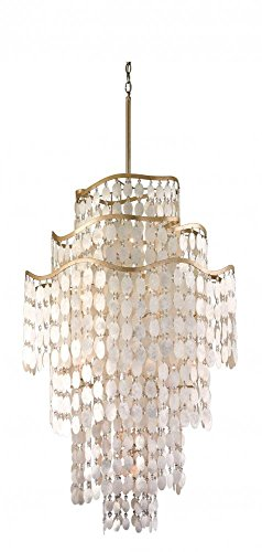 Corbett Lighting 109-719 Dolce Nineteen Light Pendant, Champagne Leaf with Capiz Shell Finish with Clear Crystal