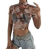 Women Fashion Casual Short Sleeve Turtleneck Print Short Tops T-Shirt Blouse Brown