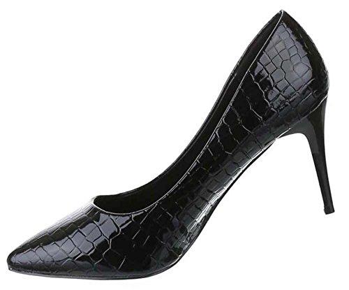 Damen-Schuhe Pumps | Frauen High Heels mit 8 cm Stiletto-Absatz in verschiedenen Farben und Größen | Schuhcity24 | Klassische Abendschuhe in Schlangenlederoptik Schwarz