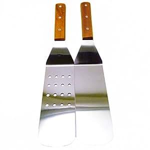 Turner Grill espátula, juego de (2) 14½–pulgadas, sólido de acero inoxidable para barbacoa