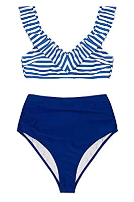 CUPSHE Women's Blue Striped High Waisted Bikini with Ruffle