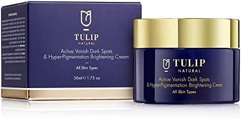 Skin Brightening & Lightening Cream – Hyperpigmentation & Dark Spots Corrector, for All Skin Types – Vitamin A Retinol Fade Cream for Skin Discoloration, Acne Scars, Sun Spots by Tulip Natural, 1.7oz