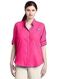 Columbia Women\'s Plus-Size Tamiami II Long Sleeve Shirt, Bright Rose, 2X