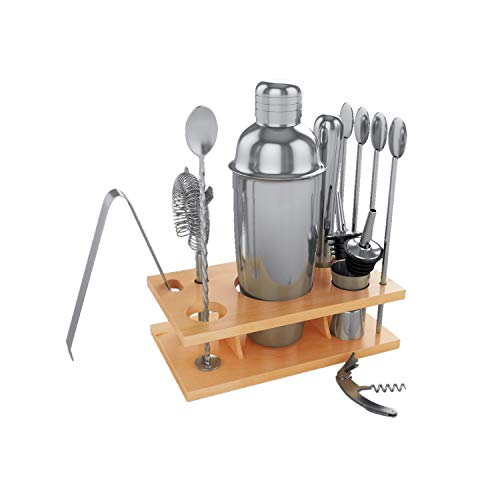14 Pcs Cocktail Shaker Set Professional Mixology Bartender Kit-Stainless Steel Home Bar Tool Set with Stand: Shaker, jigger,stirrer, muddler, ice tongs, mixing spoon,bottle pourers, wine opener