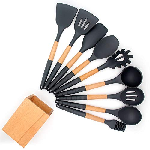 Silicone Cooking Utensil Set with Holder for Non-stick Cookware Silicone Spatula Set with Wood Handle 10 Pieces Silicone Turner Tongs Spatula Spoon Kitchen Gadgets Utensil Set (Dark Grey)