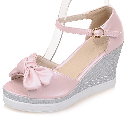 Sfnld Womens Sweet Bowknot Peep Toe Cut Out Platform Ankle Strap High Wedged Heels Sandals Pink 7 B M  Us