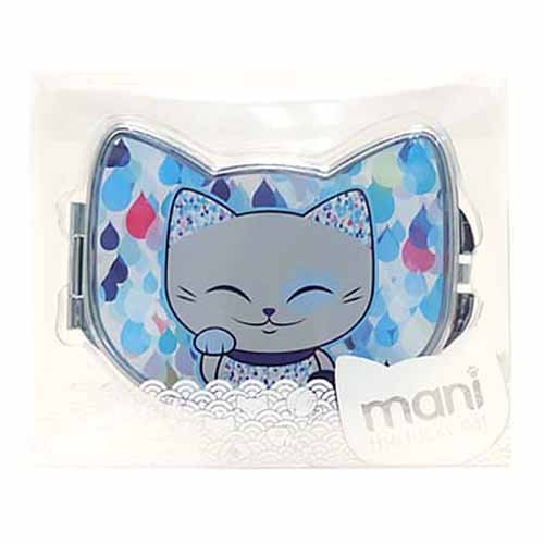 Miroir de sac forme chat porte bonheur Mani the Lucky Cat bleu gris MF059