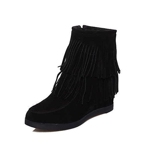 AgooLar Women's Round Closed Toe High-Heels Frosted Low-top Solid Boots Black