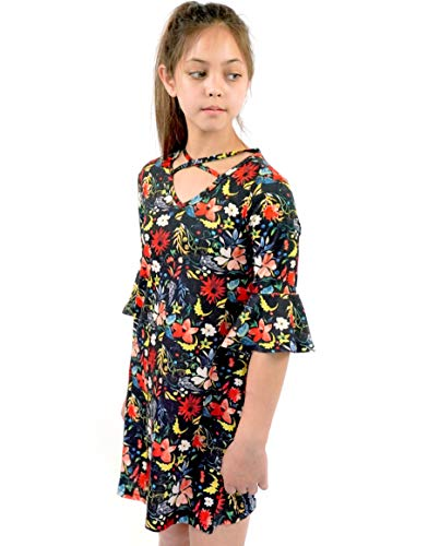 Smukke, Big Girls Floral Printed Dress with Lace Trim Tiered Ruffles (Many Options) 7-16 (14, Black Floral)