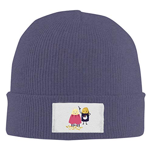 Good Wish Haircut Potato Newspaper Funny Barber Men's and Women's Noble Knit Hat Navy Super Soft & Warm Velour Lined ()