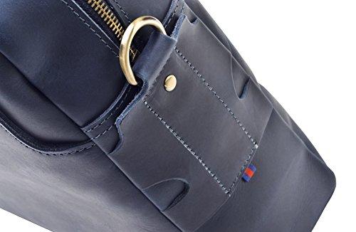 """Hølssen Men's Leather Briefcase Messenger Bag (Dark Blue) Professional Business Satchel w/ 15"""" Laptop Pocket by Hølssen (Image #6)"""