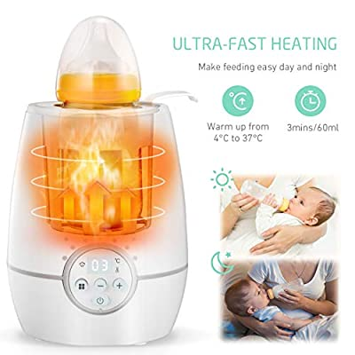 OMORC Baby Bottle Warmer with a Timer, 500W Fast Breast Milk Warmer, LCD Display Control Infant Bottle Warmer, Auto Shut-off Set and Accurate Temperature Control