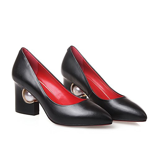 Ladies Fashion Block heeLs Black Pearl Genuine leather women pumps Pointed toe Sexy Casual Women court shoes Black J9LDMK9