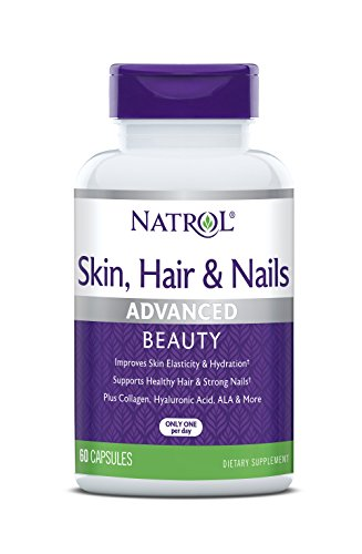 (Natrol Skin, Hair and Nails Advanced Beauty Capsules, Packed with beauty enhancing ingredients - 5,000mcg Biotin, 10mg Lutein, Collagen, Hyaluronic acid and more, Great value, 60 Count)