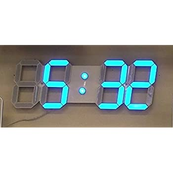 large 4 inch led digital wall clock with blue numbers 3d design with full function remote control alarms and timer