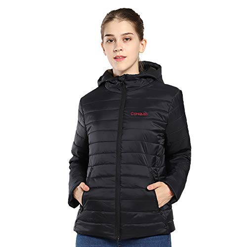CONQUECO Women's Heated Jacket Slim Fit Light Weight Down Jacket for Waterproof and Windproof with Battery Pack (M) Black
