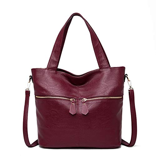 Soft Leather Women Handbags Large Tote Bag Female Shoulder Bag Casual Feminine Top-Handle Messenger Bags,Wine,32x13x31cm