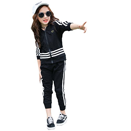 FTSUCQ Kids Zip Front Striped Sports Tracksuits Sweatsuits Jacket + Pants,Black 120