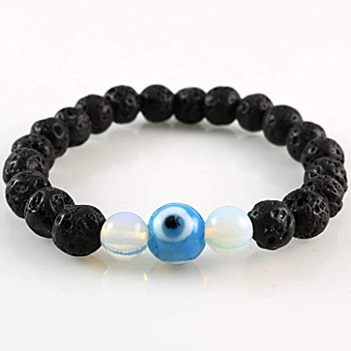 Men's Women's Natural Lava Rock Stone with Moonstone Beads and Evil Eye Talisman Stretch Bracelet 7.4 inches