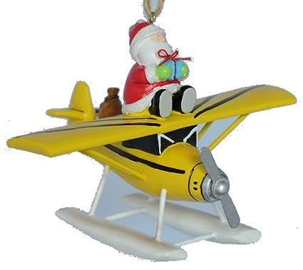 Santa on Float Plane Christmas Ornament