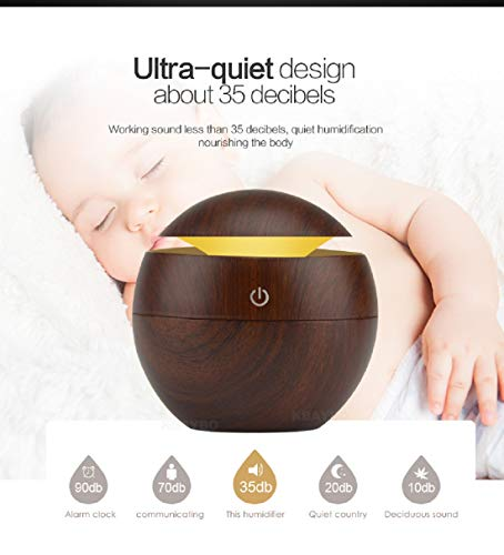 Loveje USB Humidifier Aroma Essential Oil Diffuser Ultrasonic Cool Mist Humidifier Air Purifier 7 Color Change LED Night Light for Home Office (Dark Brown)