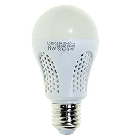 Bombilla LED 8W Esférica (Equivale a 80W) Casquillo E27, Luz Blanca 6400K, Vida útil 25,000 horas - BVC: Amazon.es: Iluminación