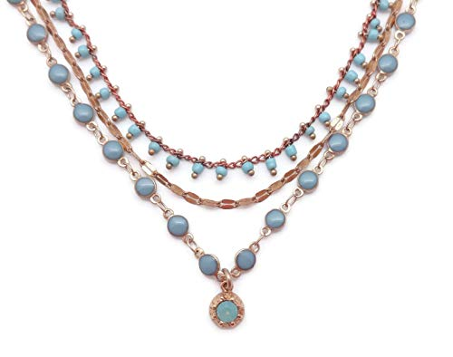 Catherine Popesco Pacific Opalescent Swarovski Crystal & Aqua Enamel Goldtone Beaded 3 Strand Necklace