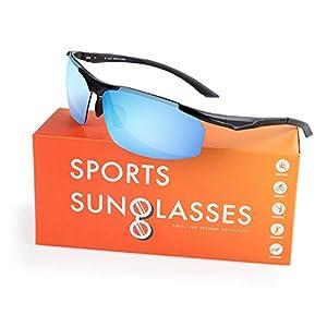 Polarized Sunglasses, Quntis Sports Style Sunglasses for Men Women Driving Baseball Cycling Fishing Golf Unbreakable Frame Metal Lightweight Glasses (Black Frame Blue Lens)