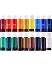 Acrylic Paint Set of 18 Colors (Bottled 59ml/2 ounces)Art Acrylic Kit for Children Beginners Students Painters Artists for Paper, Wood, Canvas,DIY Hand-painting,Stone-painting and Wall-painting