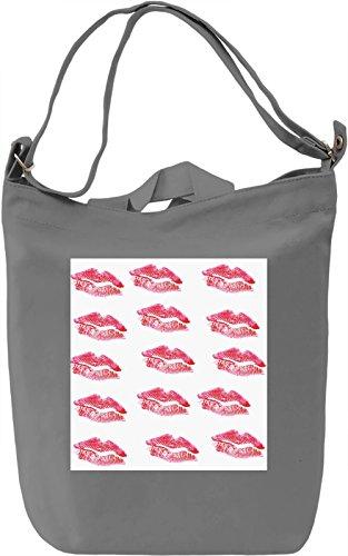 Kiss Lips Print Borsa Giornaliera Canvas Canvas Day Bag| 100% Premium Cotton Canvas| DTG Printing|