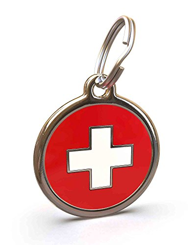 Swiss Tag - UNLEASHED.DOG Customizable Engraved Dog ID Tag - Stainless Steel with Swiss Cross Enamel Inlay - Large