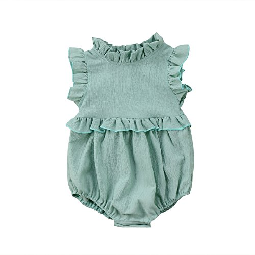 Younger Tree Toddler Baby Girls Summer Clothes Ruffled Collar Sleeveless Romper Jumpsuit (Green, 80(6-12 Months))