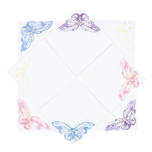 Selected Hanky Women's/Ladies Cotton Handkerchiefs with Assorted Butterfly Lace at Corner 8 Pieces Set