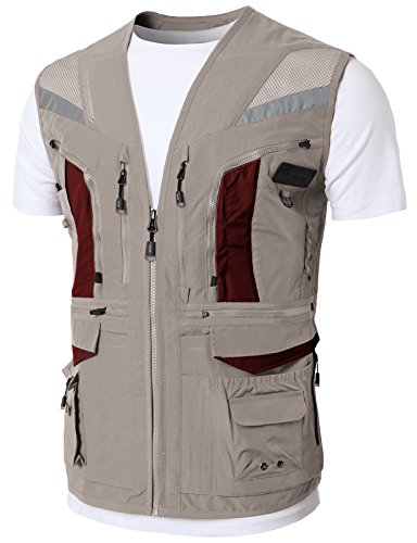 H2H Mens Work Utility Fly Fishing Photographer Travel Vest Hidden Pockets Beige US M/Asia L (KMOV0144) (Weighted Vest Hidden)