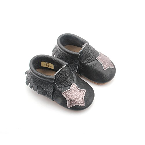 Liv & Leo Baby Boys Girls Moccasins Soft Sole Crib Shoes Slip-on 100% Leather - Star Collection (6-12 Months, Black/Platinum - Liv Collection