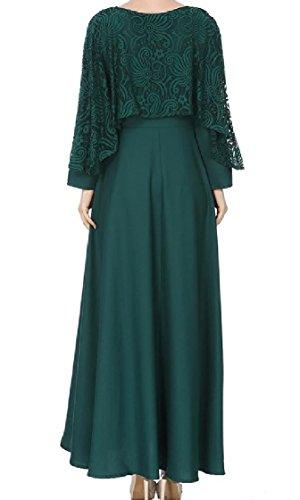 Muslim Lace Swing Mid Green Coolred Women Islam Solid Elegant Dress Length PqFnxY7Et