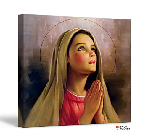FoxyCanvas Mother Mary Blessed Virgin Mary Christian Giclee Canvas Print Stretched and Framed Wall Art for Home and Office Decorations 16×16 inch