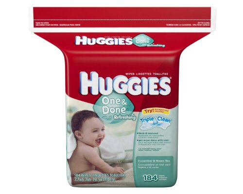Huggies One & Done Refreshing Baby Wipes, Refill, 552 Total Wipes 184-Count Pack (Pack of 3), Packaging may vary ()