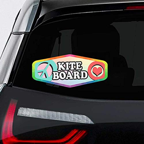 Makoroni - Peace Love Kite Board Car Laptop Wall Sticker Decal - 3.5'by8'(Small) or 4.5'by10'(Large)