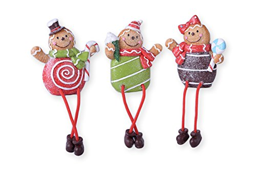 Gingerbread Candy Buddies 4 x 4 Resin Stone Christmas Shelf Sitter Figurines Set of ()