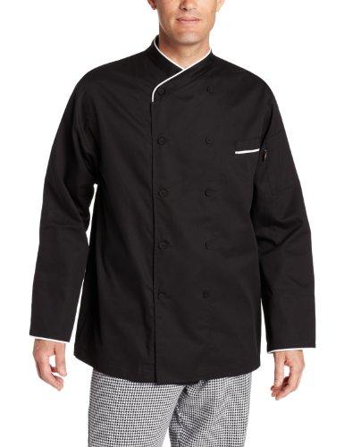 Dickies Men's Black Egyptian Cotton Chef Coat, Medium