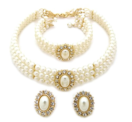3 Rows Rhinestone Trimmed Simulated Pearl Choker Necklace, Bracelet, Pierced Earring 3 Set (Cream) (Ivory Necklace Womens)