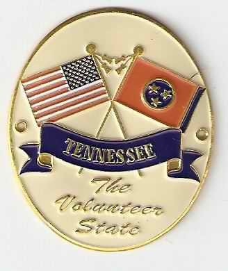 Tennessee & United States of America Flags - Hiking Stick Medallion - The Volunteer State ()