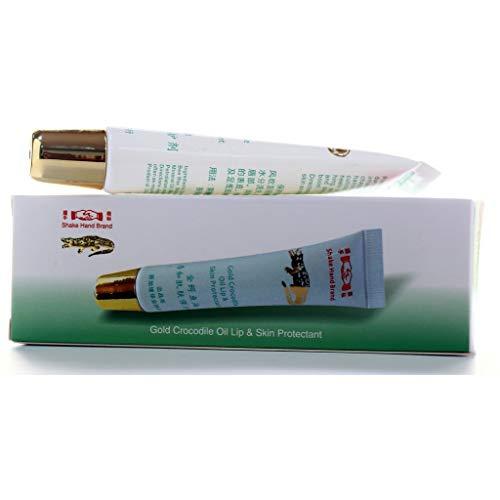 Shake Hand Brand Gold Crocodile Oil Lip & Skin Protectant 15g, Made in Singapore, Chop Wah On 新加坡制造 握手商标金鳄鱼油唇和皮肤保护剂 15克 华安 握手牌 (1)