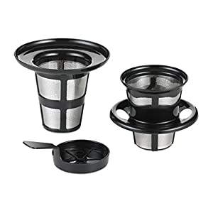 Reusable Pod - Pour Over Brewer for ALL Keurig K-cup Brewers, Tea Kettle or iCoffee. (Includes Pour-Over + Tea Infuser + Steeping Cover/Drip Tray) Stainless Steel.