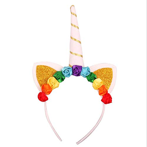 Buufan Girl Unicorn Horn Headband for Little Pony Cosplay Flowers Headwear Birthday Accessory for Party Decoration Cosplay Halloween Costume(rainbow flower)