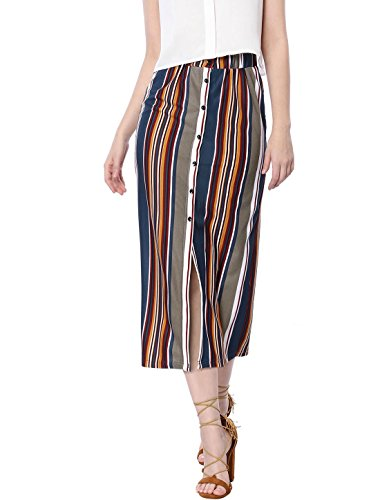 Allegra K Women's Button Decor Front Split Hem Striped Maxi Skirt Multi L (US 14)